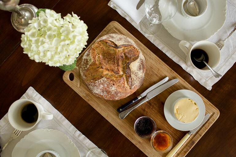 bread-loaf-jam-butter-table-breakfast