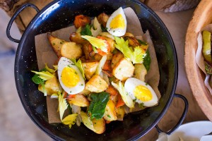 Warm Parsnip & Carrot Salad With Candied Celery Leaves