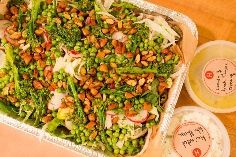 peas-almonds-salad-radish-catering-dropoff